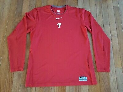 a3d35f800 Nike Pro DriFit Philadelphia Phillies Perf L S Fitted Jersey Shirt Men s  Size L