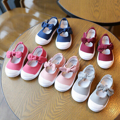Summer Baby Girls Canvas Shoes Bow Shoes Infant Casual Single Shoes Child