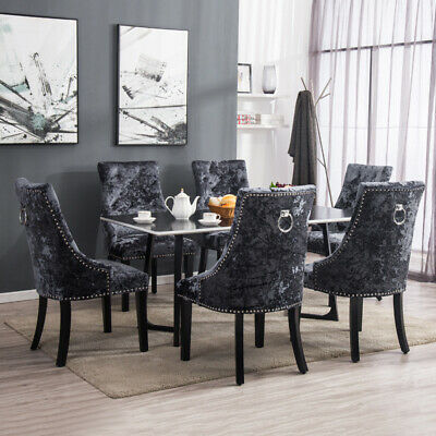 2 4pcs Stud Tufted Dining Chairs