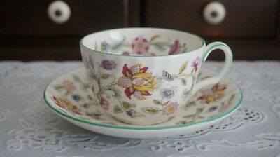 VINTAGE Minton Haddon Hall Floral Chintz Green Trim Cup and Saucer, England