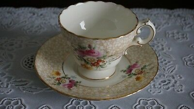 VINTAGE Cauldon Tea Cup and Saucer Scalloped Gold Trim, England
