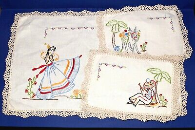 Vintage Linen  Embroidered Duchess Doilies Set (3 pce.) Mexican Dancer, Donkey