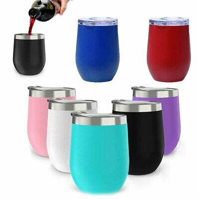 12oz Metal Stainless Steel Wine Tumbler Double Wall Insulated Eggshell cup LU