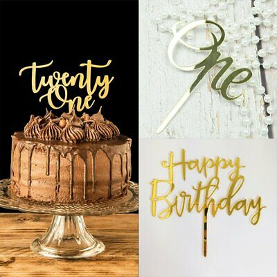 One Cake Topper Oh Baby Gold Acrylic Mirror Party Parties Event Decorations LU