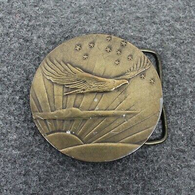 Vintage Eagle Flying Bergmont Brass Works Belt Buckle