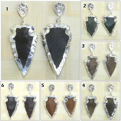 Lovely Arrowhead Natural Agate Jasper Silver Electroplated Earring Women Jewelry