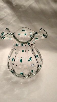 Vase Glass Regenhütte Germany H 15 cm