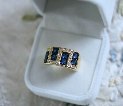 Vintage Jewellery Gold Ring Blue And White Sapphires Antique Jewelry Size 8