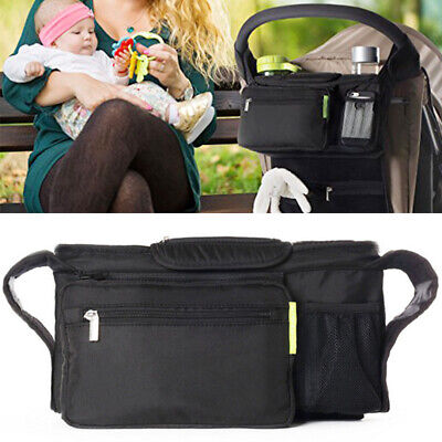 Black Storage Bag Diapers Pannier Bag Mommy Baby Stroller Toys Cup Holders *
