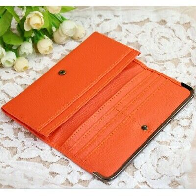 Fashion Embossed Leather Women Bifold Wallet Long Purse Card Holder Orange US