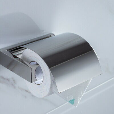 HOMELODY 304 Stainless Steel Bathroom Toilet Paper Roll Holder Shelf with Cover
