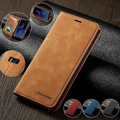 For Samsung S10 S9 S8 Plus Case Magnetic Leather Book Wallet Card Slots Cover