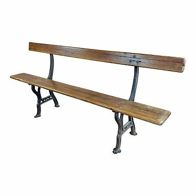 19th century Cast Iron & Wood Outdoor Farm Seating Bench
