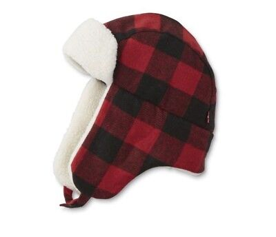 e0dde8023c3401 Nwt Mens Levis Red Buffalo Plaid Sherpa Fur Trapper Hat Cap Aviator Red/blk