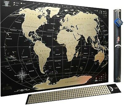 Black Gold Deluxe World Scratch off Map travel map Push pin gift for traveler
