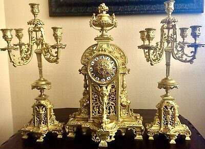 Japy Freres Large Very Heavy French Antique Gilt Bronze Set Clock Candelabras