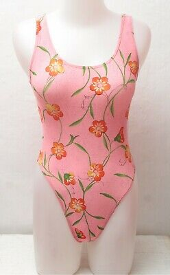 New Pink Floral Pattern Spandex Leotard / Bodysuit for Women size 10 Small