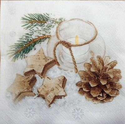 4 x Single Paper Napkins Merry Christmas Gold Candles Decoupage Crafting 45