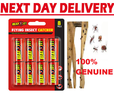 8 x STICKY FLY INSECT CATCHER PAPER Killer Trap Strip Pest Bug Wasp Swatter