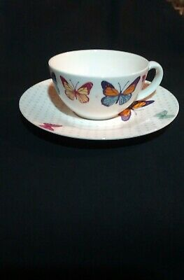 Laura  Ashley  Tea /Coffee Cup And Saucer Butterfly Pattern  Unboxed