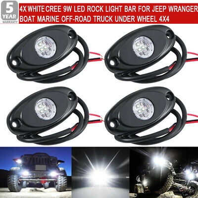 4X High Power White 3-CREE LED Rock Light Kit For Jeep Truck SUV Off-Road Boat
