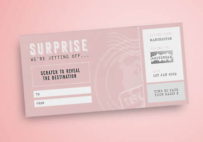Custom scratch off boarding pass for surprise holiday gift announcement - travel