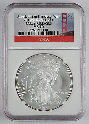 2013 (S) $1 American 1 Oz Silver Eagle Coin NGC MS70 Early Releases Golden Gate