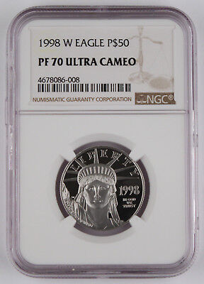 1998 W $50 1/2 Oz 9995 PLATINUM American EAGLE Proof Coin NGC PF70 UC