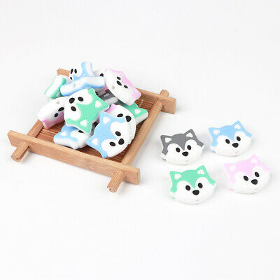 5PCs Fox Head Silicone Loose Beads for DIY Baby Teether Pacifier Chain Pendant