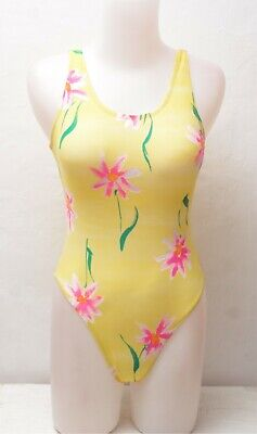 New Yellow Floral Pattern Spandex Leotard / Bodysuit for Women size 10 Small