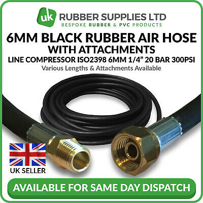 "6mm 1/4"" Black Rubber Air Hose Line Compressor Water ISO2398 with Attachments"