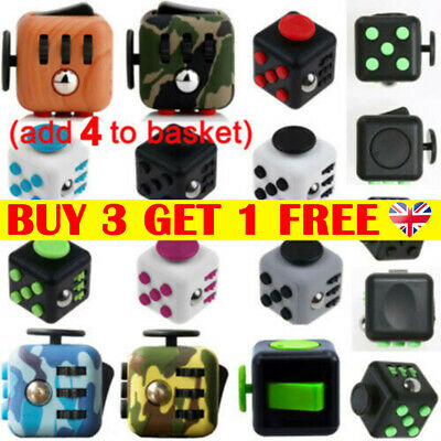 Fidget Cube Spinner Toy Gifts Kid Desk Adults Stress Relief Cubes ADHD 6Sides LT