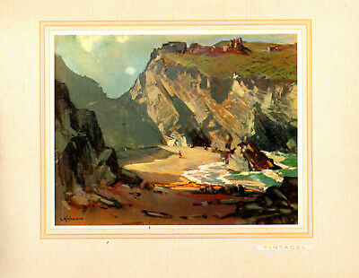 Tintagel Cornwall 1930 Vintage Mounted Print From The Original Painting Unframed