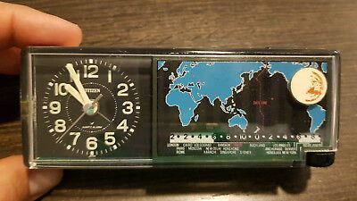 Vintage Citizen Alarm Clock, Quartz. World Time. Made in Japan. Working.