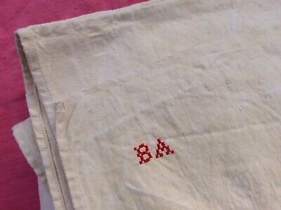 Unused Vintage French Homespun Linen Sheet Fabric Mono Ba  214 Cms X 204 Cms