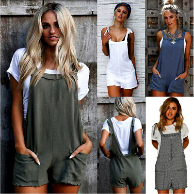 Women Casual Loose Overalls Jumpsuit Strap Rompers Dungaree Oversized Trousers