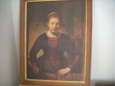 Rembrandt Vintage oil Print - Young Girl At An Open Half Door, 1645 signed oil