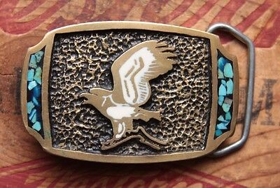 Vintage Hand Made Solid Bronze Eagle Turquoise Inlay Western Belt Buckle