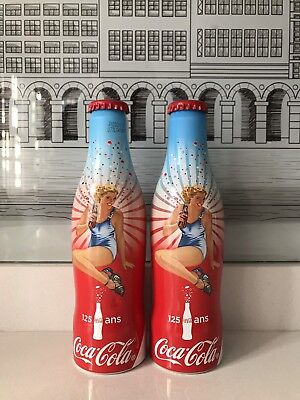 125 Years France. 2 Different Blue Colour. Aluminium Coca Cola Bottles