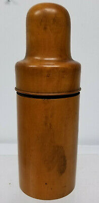 Antique English Carved Boxwood Treenware Box Container Glass Bottle Holder