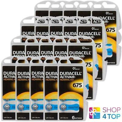120 Duracell 675 Activair Hearing Aid Batteries Zinc Air 1.45V Mercury Free New