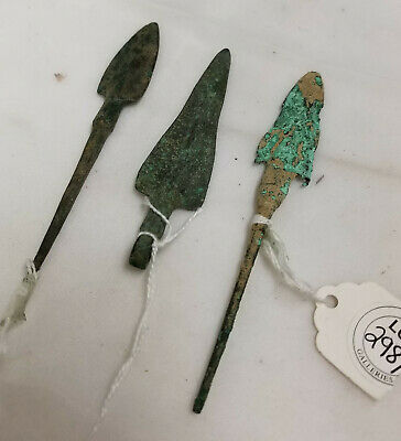 Antique Antiquity Greek Roman Hellenistic Bronze Copper Arrow Spear Points Heads