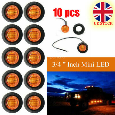 10 PCS DC 12/24V Amber Yellow Small Round Side 3 LED Button Marker Lorry Lights
