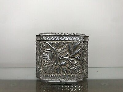 Antique Indian Silver Gilt Tea Caddy. Kashmir Silver.1900.175 Gms.