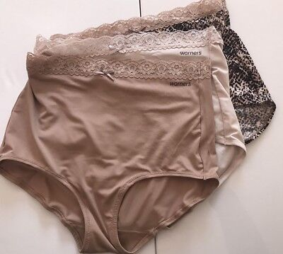f26fac3a955a NWOT Womens 3 Pack Warners Lace Top Briefs Beige & Print Size Small/5