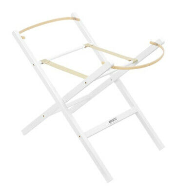 Clair de Lune Self Assembly Solid Wooden Folding Moses Basket Stand - White