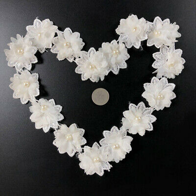 10Pcs Lace Flower Embroidered  Wedding DIY Neck Collar Trim Sew Applique Patches