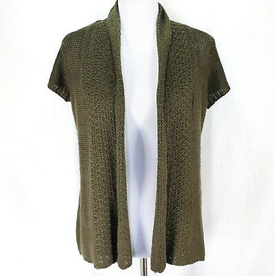 7194b050635 Dressbarn Cardigan Sweater Sz S Olive Green Open Front Short Sleeve Acrylic