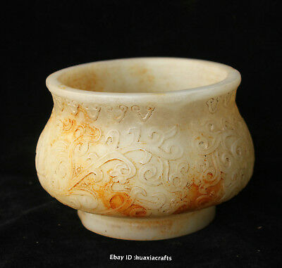 15cm Collect China Ancient Old Jade Hand-carved Flower Incense burner HIQO