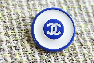 💙CHANEL BUTTONS   logo CC  0,7 inch 17 mm  Metal  blue & white